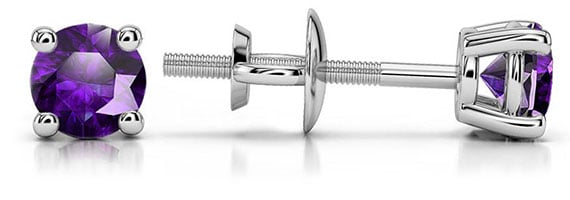 Amethyst Platinum Gemstone Stud Earrings
