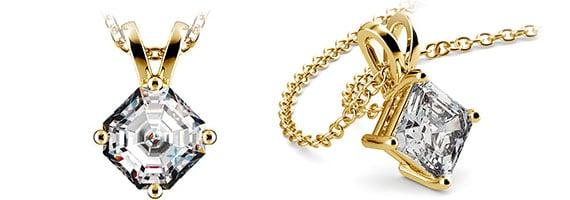 Asscher Yellow Gold Diamond Solitaire Pendants