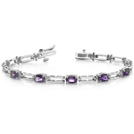 Amethyst Oval-Cut Gemstone Bracelet in White Gold (2 ctw) | Thumbnail 01