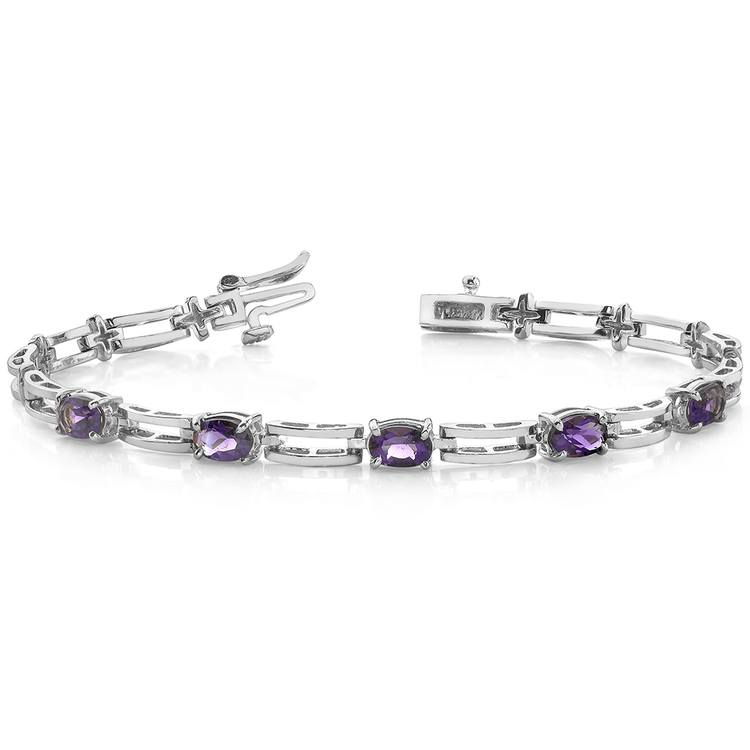 Amethyst Oval-Cut Gemstone Bracelet in White Gold (2 ctw) | 03