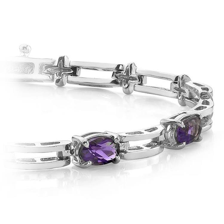Amethyst Oval-Cut Gemstone Bracelet in White Gold (2 ctw) | 01