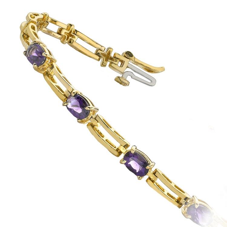 Amethyst Oval-Cut Gemstone Bracelet in Yellow Gold (2 ctw) | 02