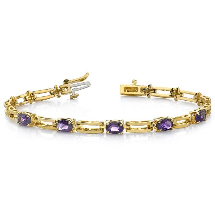 Amethyst Oval-Cut Gemstone Bracelet in Yellow Gold (2 ctw) | 03