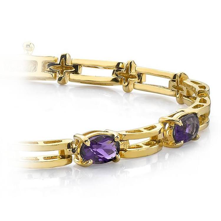 Amethyst Oval-Cut Gemstone Bracelet in Yellow Gold (2 ctw) | 01