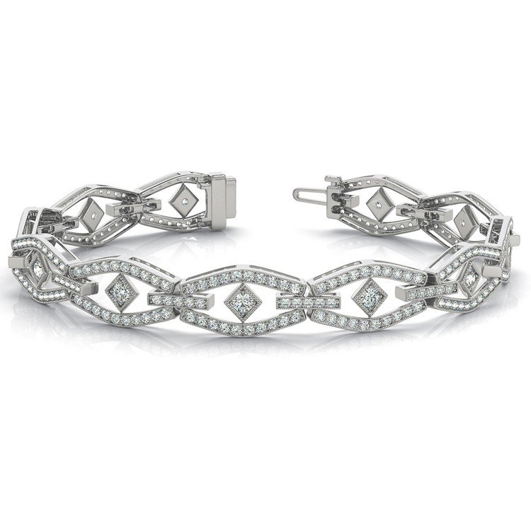 Art Deco Diamond Bracelet in White Gold (3 ctw) | 03