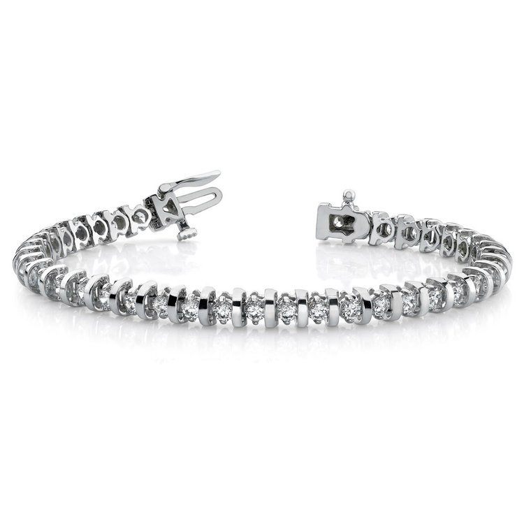 Bar Diamond Bracelet in White Gold  | 03