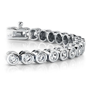 Bezel Diamond Tennis Bracelet in White Gold (4 ctw)