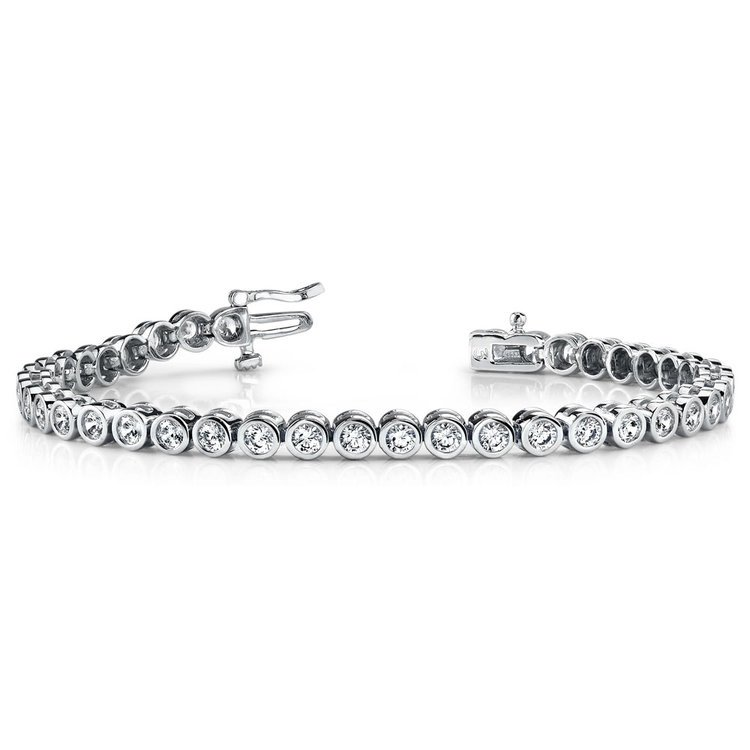 Bezel Diamond Tennis Bracelet in White Gold (2 ctw) | 03