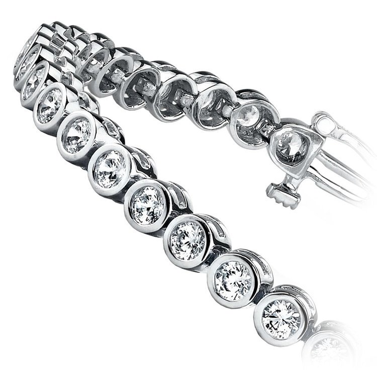 Bezel Diamond Tennis Bracelet in White Gold (2 ctw) | 02
