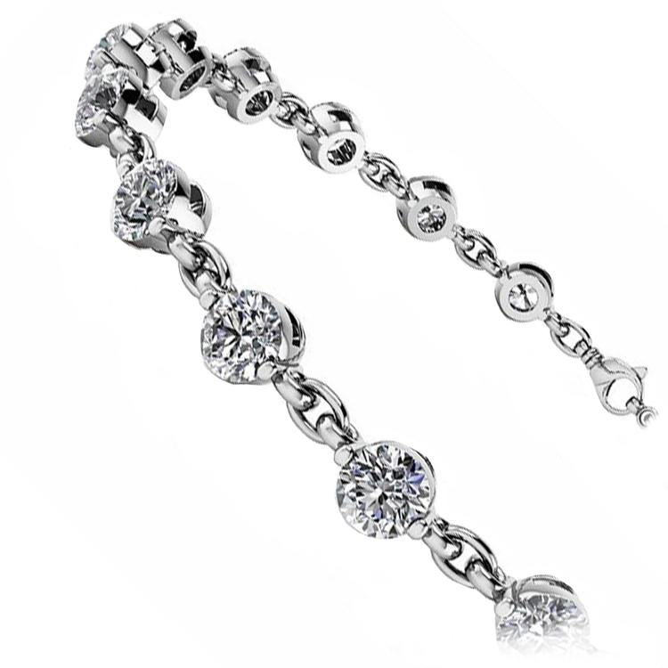 Link Diamond Bracelet in White Gold (7/8 ctw) | 02