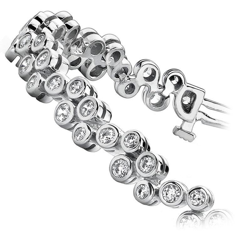 Bubble Diamond Bracelet in White Gold (3 ctw) | 02