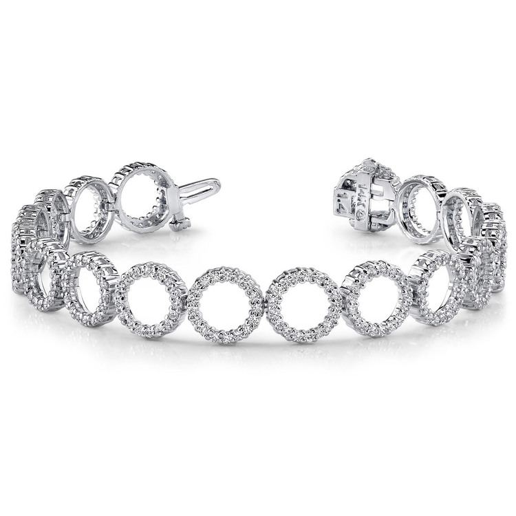 Circle Diamond Bracelet in White Gold (4 ctw) | 03
