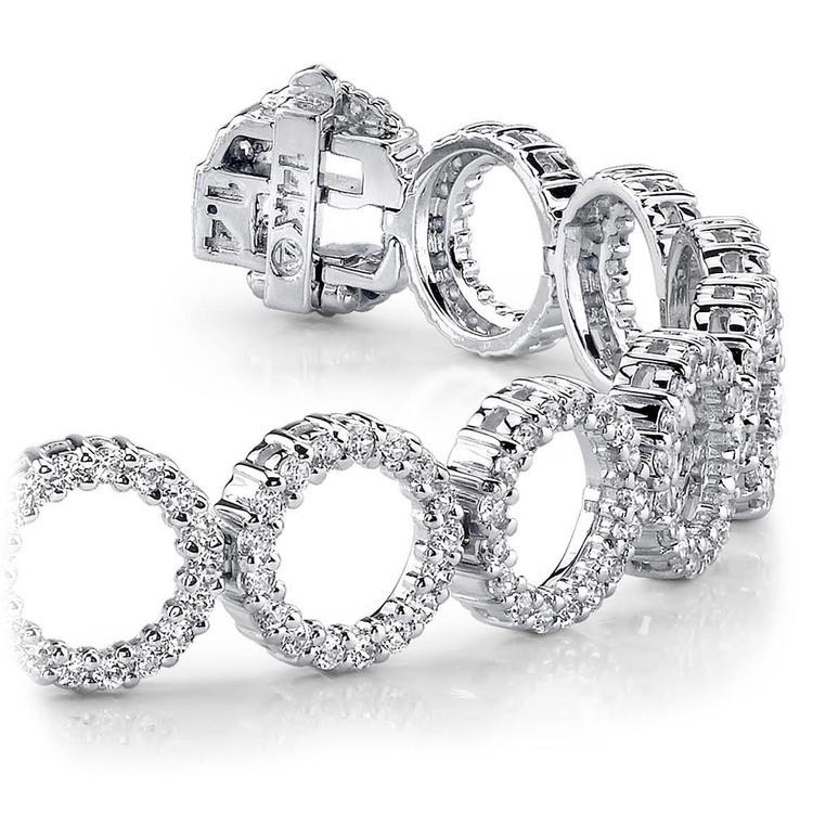 Circle Diamond Bracelet in White Gold (4 ctw) | 01