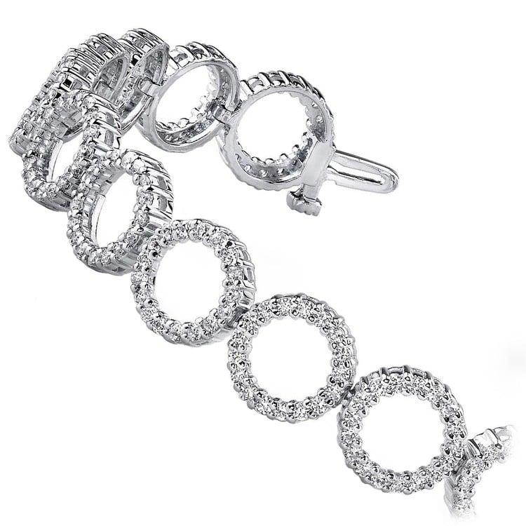 Circle Diamond Bracelet in White Gold (4 ctw) | 02
