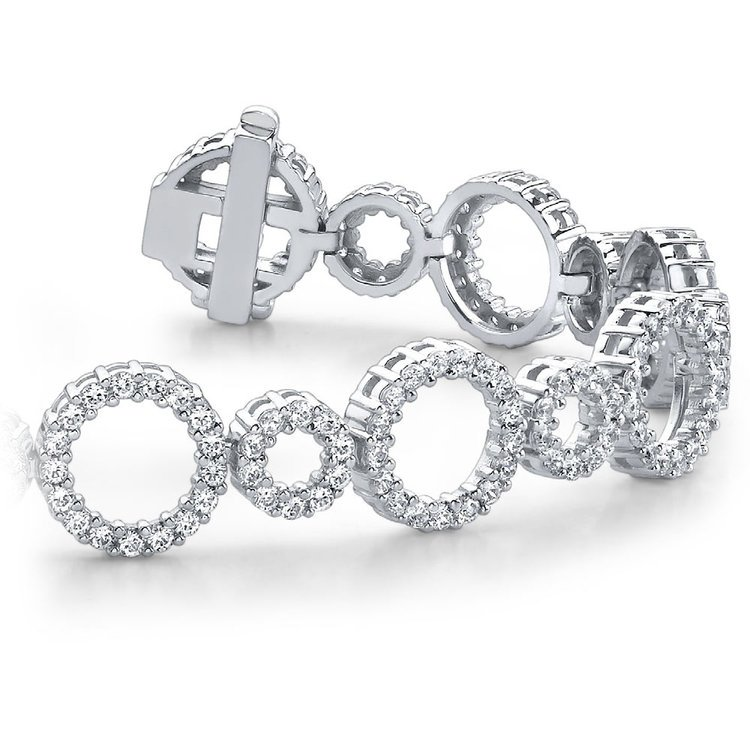 Circle Diamond Bracelet in White Gold (6 ctw) | 01