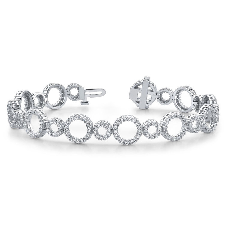 Diamond Circle Bracelet in White Gold (4 ctw)  | 03