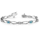 Modern Diamond & Topaz Oval Gemstone Bracelet in White Gold | Thumbnail 01