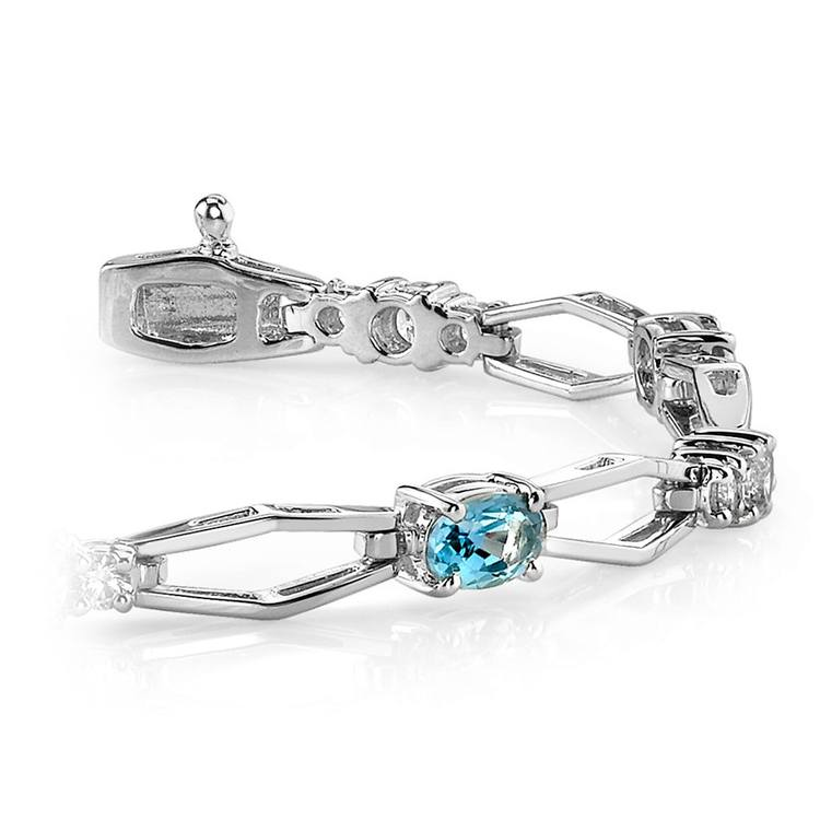 Modern Diamond & Topaz Oval Gemstone Bracelet in White Gold | 01