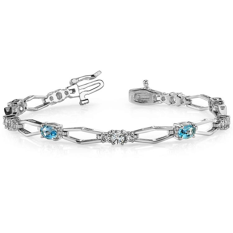 Modern Diamond & Topaz Oval Gemstone Bracelet in White Gold | 03