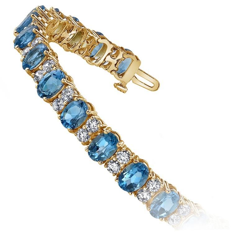 Diamond & Swiss Blue Topaz Bracelet in Yellow Gold (17 ctw)   02