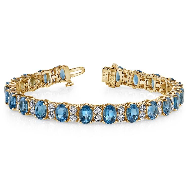 Diamond & Swiss Blue Topaz Bracelet in Yellow Gold (17 ctw)   03