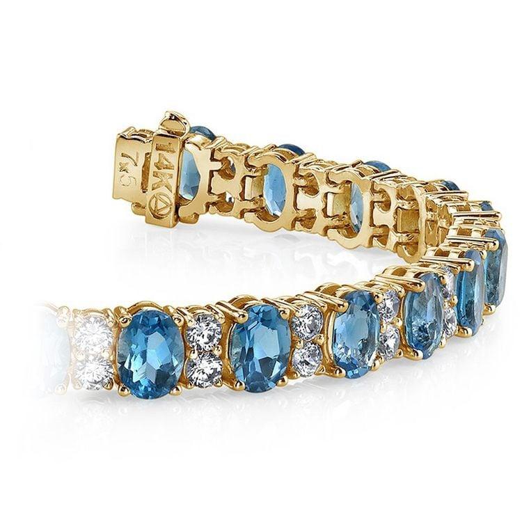 Diamond & Swiss Blue Topaz Bracelet in Yellow Gold (17 ctw)   01