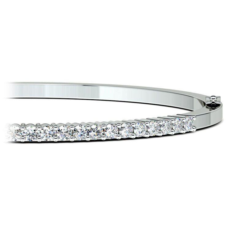 Diamond Bangle Bracelet in White Gold (2 ctw) | 01