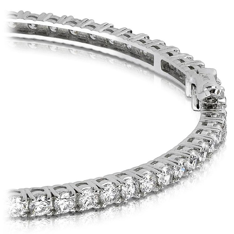 Diamond Eternity Bangle Bracelet in White Gold (5 1/2 ctw) | 01
