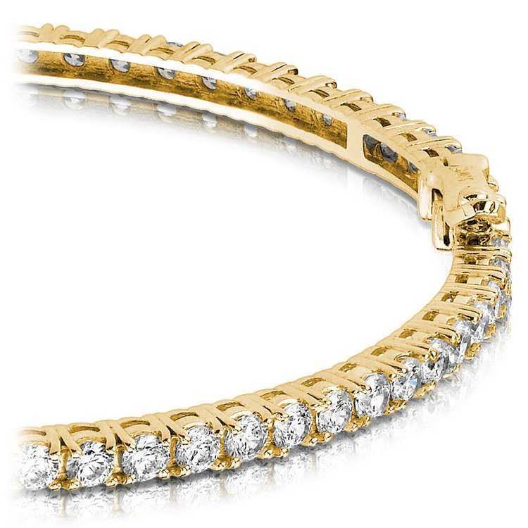 Diamond Eternity Bangle Bracelet in Yellow Gold (5 1/2 ctw) | 01