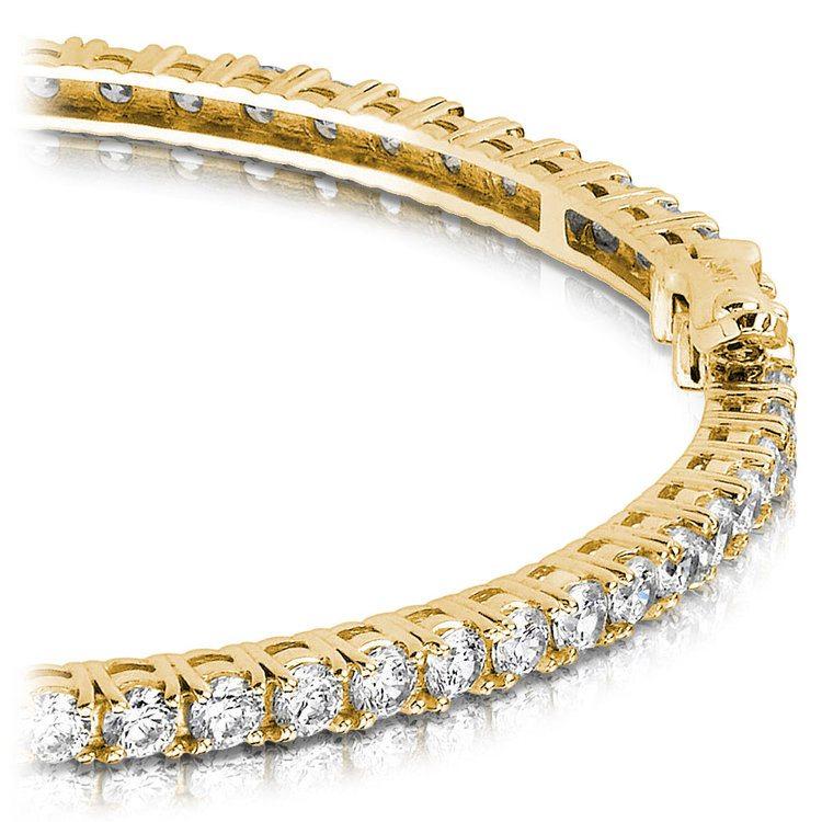 Diamond Eternity Bangle Bracelet in Yellow Gold (2 1/2 ctw) | 01