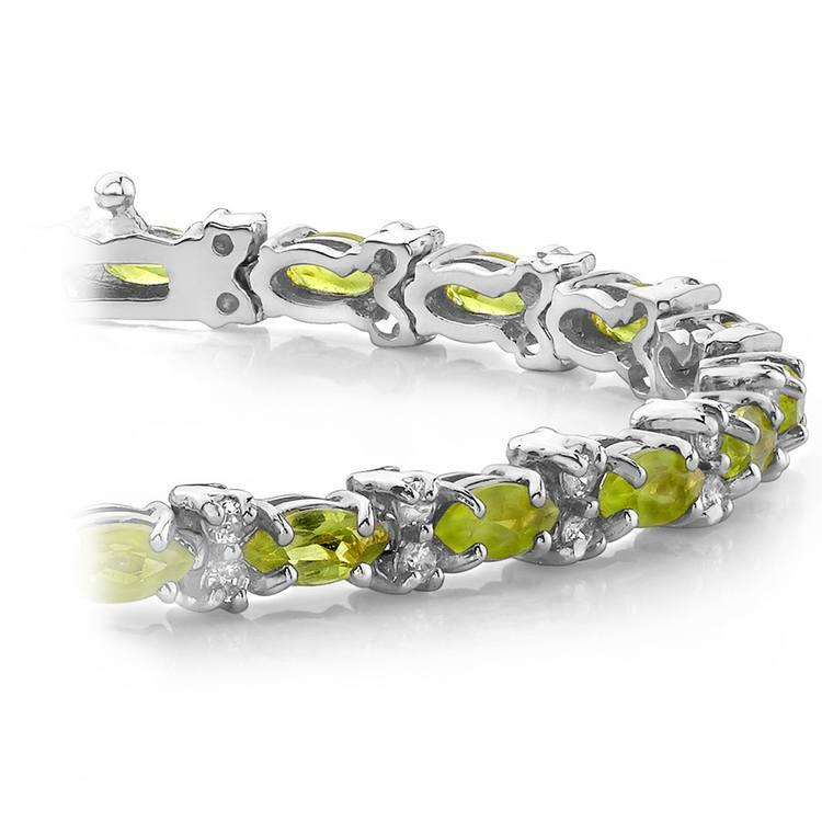 Peridot Marquise & Diamond Gemstone Bracelet in White Gold | 01