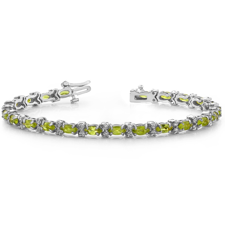 Peridot Marquise & Diamond Gemstone Bracelet in White Gold | 03