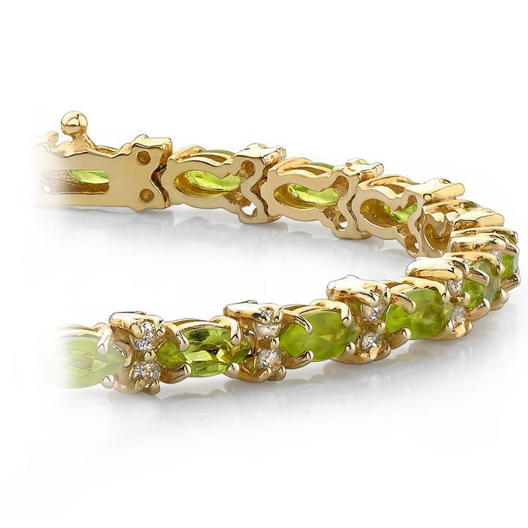 Peridot Marquise & Diamond Gemstone Bracelet In Yellow Gold | 01