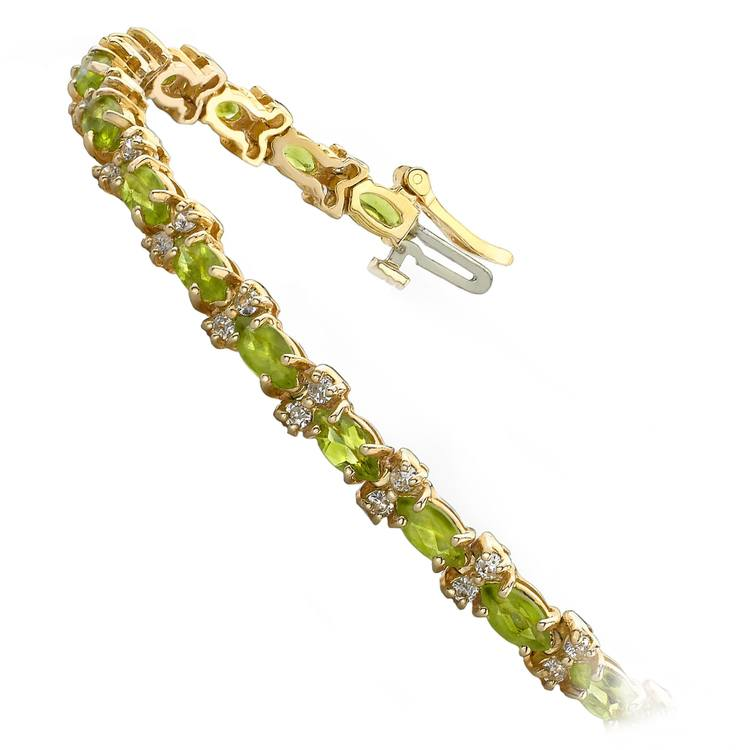 Peridot Marquise & Diamond Gemstone Bracelet In Yellow Gold | 02