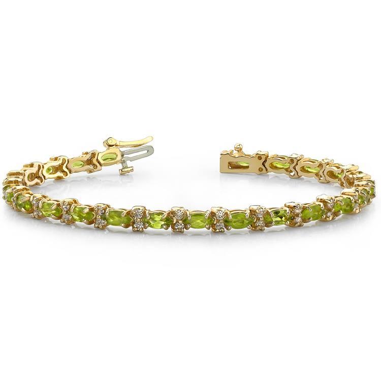 Peridot Marquise & Diamond Gemstone Bracelet In Yellow Gold | 03