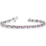 Diamond & Pink Sapphire Gemstone Bracelet in White Gold (10 ctw) | Thumbnail 01