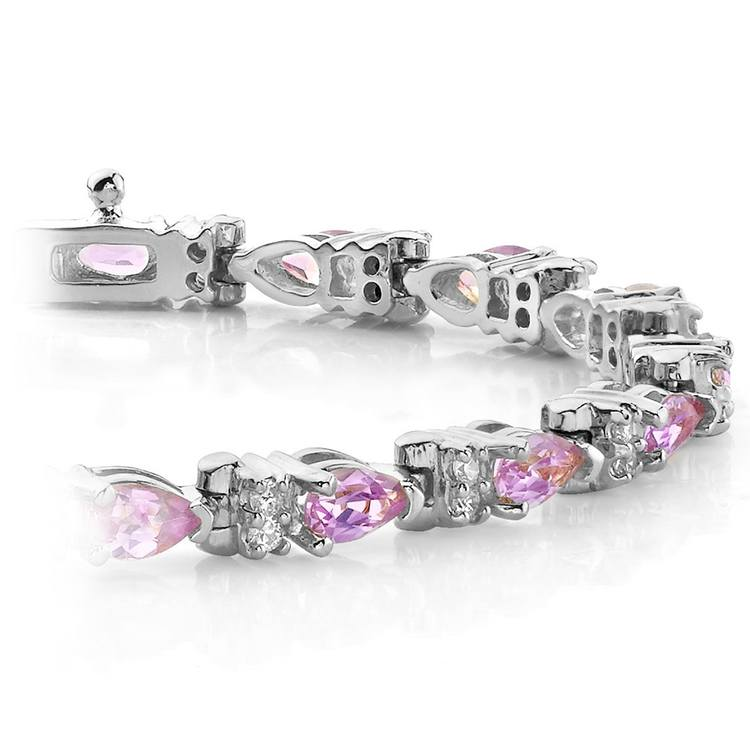 Diamond & Pink Sapphire Gemstone Bracelet in White Gold (10 ctw) | 01