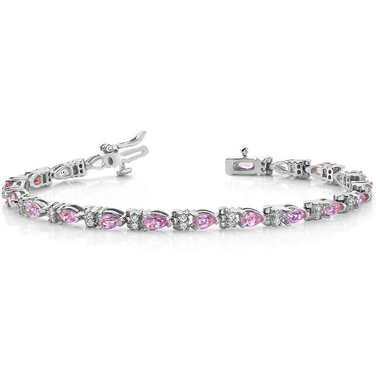Diamond & Pink Sapphire Gemstone Bracelet in White Gold (10 ctw) | 03