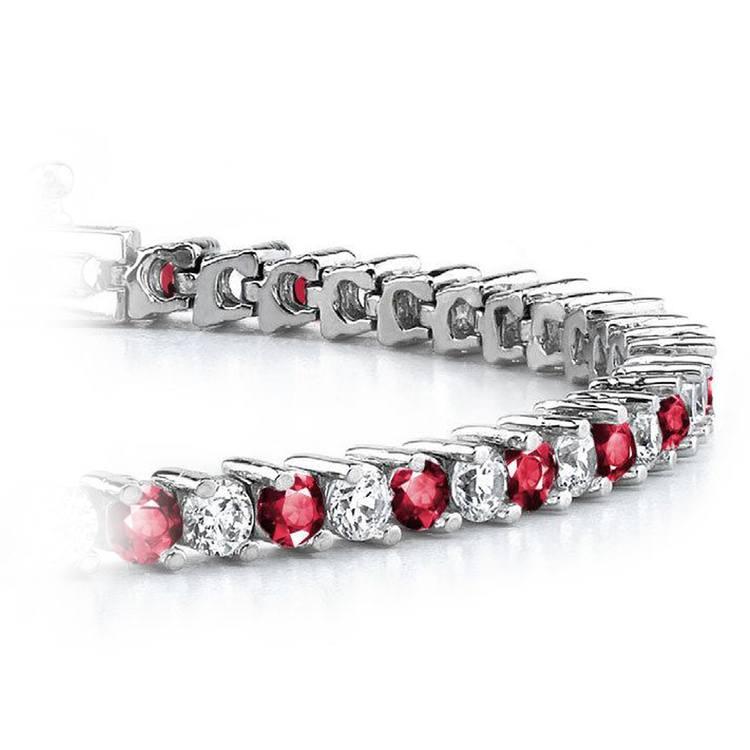 Diamond & Ruby Illusion Bracelet in White Gold | 01