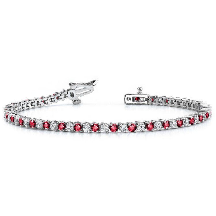 Diamond & Ruby Illusion Bracelet in White Gold | 03