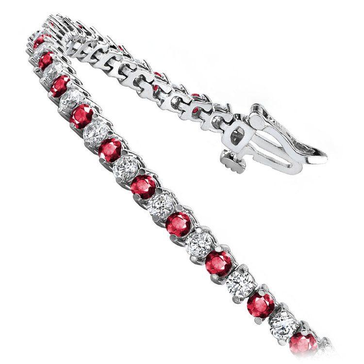 Diamond & Ruby Illusion Bracelet in White Gold | 02