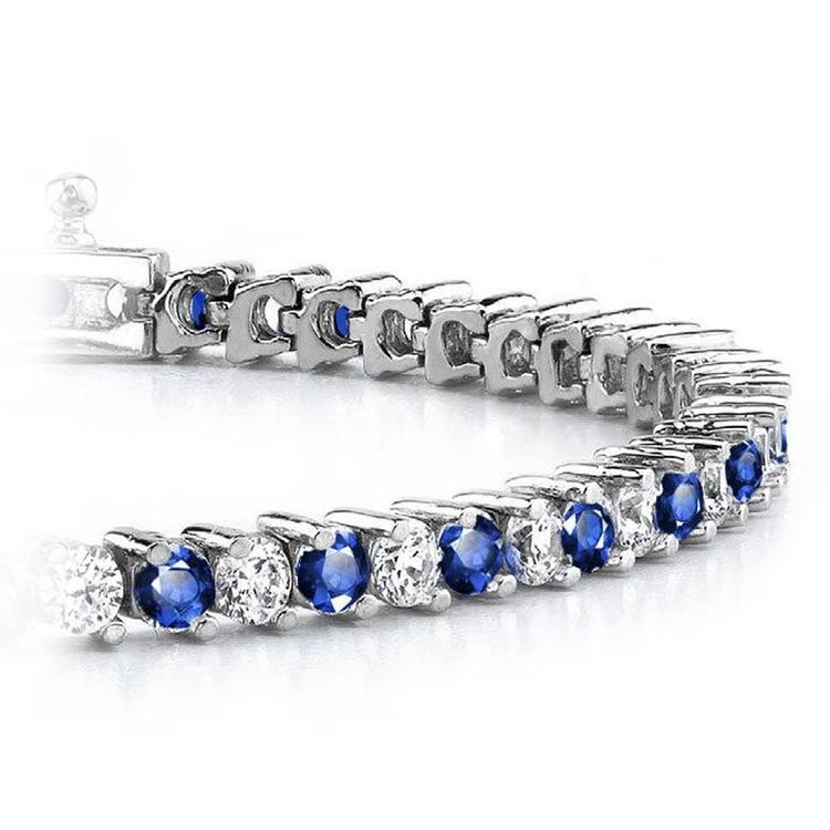Diamond & Sapphire Illusion Bracelet in White Gold | 01