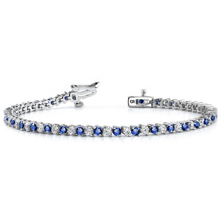 Diamond & Sapphire Illusion Bracelet in White Gold | 03