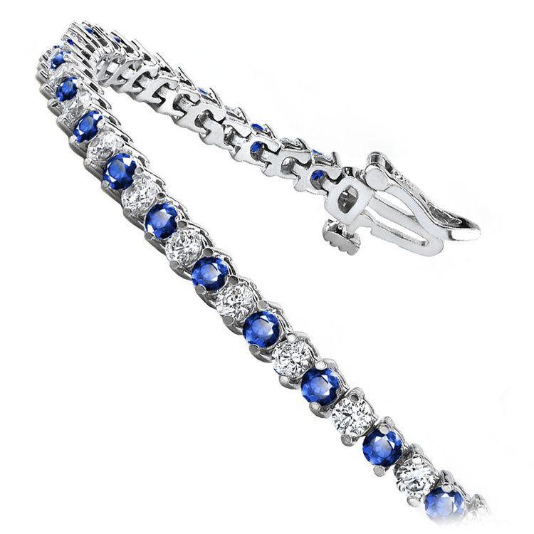 Diamond & Sapphire Illusion Bracelet in White Gold | 02