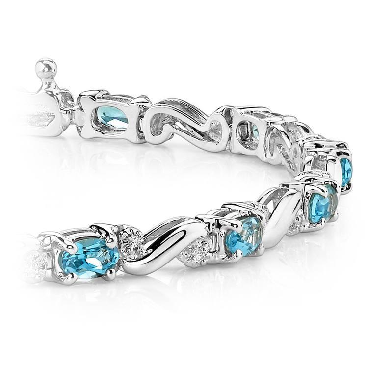 Swirl Diamond & Swiss Blue Topaz Gem Bracelet In White Gold (4 ctw) | 01