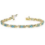 Swirl Diamond & Swiss Blue Topaz Gem Bracelet In Yellow Gold (4 ctw) | Thumbnail 01