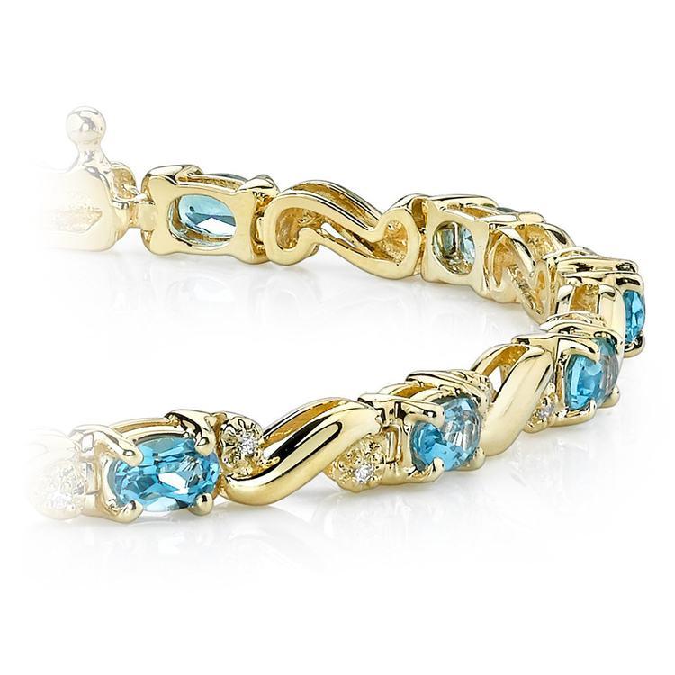Swirl Diamond & Swiss Blue Topaz Gem Bracelet In Yellow Gold (4 ctw) | 01