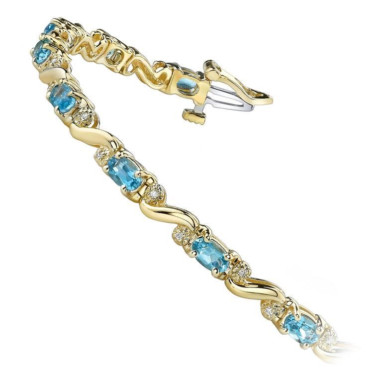 Swirl Diamond & Swiss Blue Topaz Gem Bracelet In Yellow Gold (4 ctw) | 02