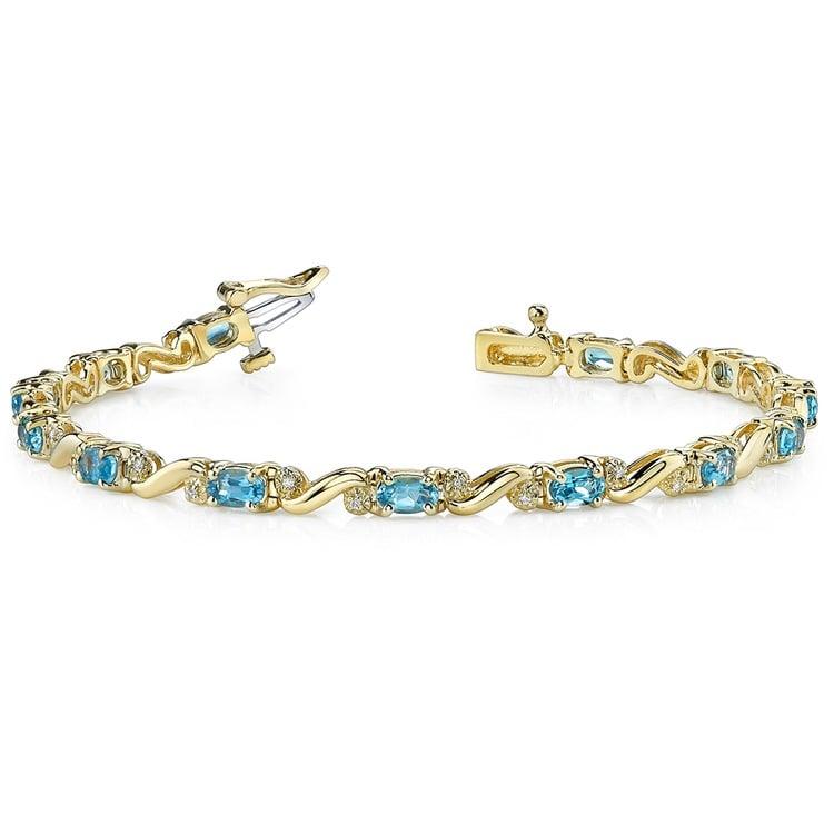 Swirl Diamond & Swiss Blue Topaz Gem Bracelet In Yellow Gold (4 ctw) | 03