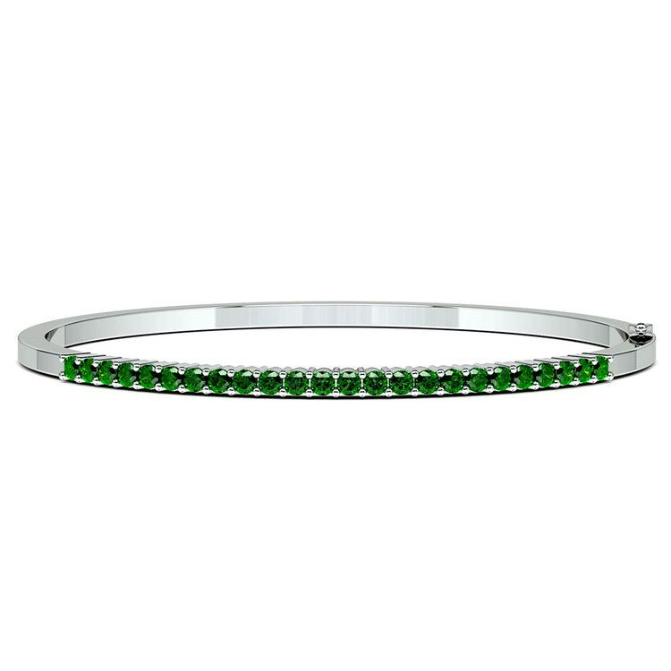 Emerald Bangle Bracelet in White Gold  | 03